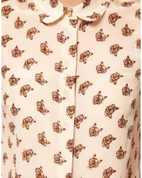 NW3 by Hobbs Natural Mr Fox Print Sleeveless Shirt