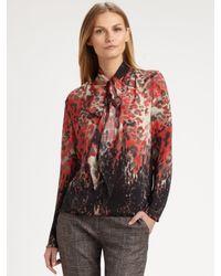 Piazza Sempione Red Silk Scarf Tie Blouse