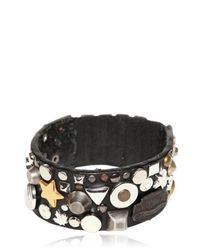 DSquared² Black 3cm Studded Leather Elasticated Bracelet for men