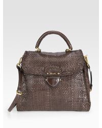 Prada - Brown Madras Top Handle Flap Tote Bag - Lyst