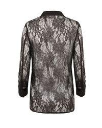 AllSaints - Black Shield Lace Shirt - Lyst