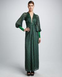 Issa | Green Printed Rayonsilk Wrap Maxi Dress | Lyst
