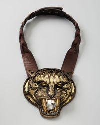 Lanvin - Brown Panther Pendant Necklace - Lyst