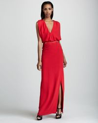 Raoul Red Wallis Vneck Gown