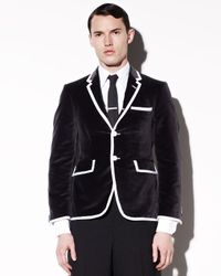 Thom Browne Gray Button Velvet Sport Coat for men