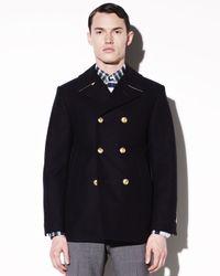 Thom Browne Blue Classic Pea Coat for men