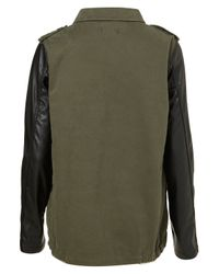 TOPSHOP | Green Contrast Sleeve Army Jacket | Lyst