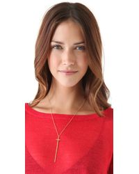 Jennifer Zeuner | Metallic Long Diamond Cross Necklace - Gold | Lyst