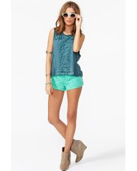 Nasty Gal | Blue Delia Lace Shorts | Lyst
