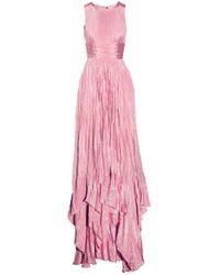 Oscar de la Renta   Pink Pleated Washedsatin Gown   Lyst