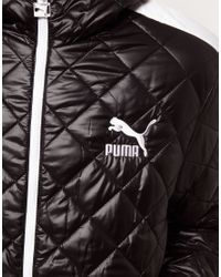 PUMA Black Quilted Jacket with Hood for men