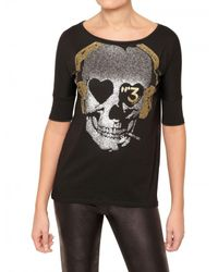 Sweet Matilda Black Sequin Skull Modal Cotton Jersey T-shirt