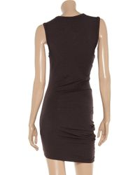 T By Alexander Wang | Brown Draped Stretchjersey Dress | Lyst