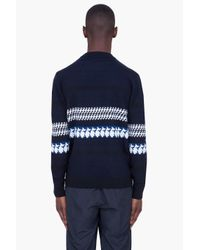 3.1 Phillip Lim Blue Navy Shifted Houndstooth Knit for men