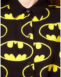 Lazy Oaf Yellow X Batman Oversized Shirt in Bat Logo Print