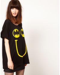 Lazy Oaf Black X Batman Oversized Tshirt in Happy Bat Print