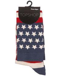TOPSHOP - Blue American Flag Knee High Socks - Lyst