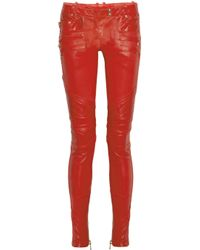 Balmain - Red Quilted Panel Leather Skinny Pants - Lyst