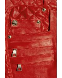 Balmain | Red Quilted Panel Leather Skinny Pants | Lyst
