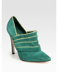 Alice + Olivia | Green Dame Suede and Metallic Leather Ankle Boots | Lyst