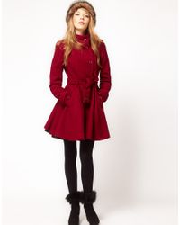 ASOS Collection Purple Fit and Flare Belted Coat