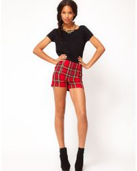 ASOS Red Tartan Double Zip Shorts