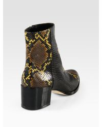 B Brian Atwood Black Snakeprint Leather and Patent Leather Ankle Boots
