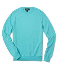 Brooks Brothers Blue Country Club Lightweight Cashmere Crewneck Sweater for men