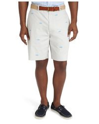 Brooks Brothers White Plain Front Embroidered Whale Shorts for men
