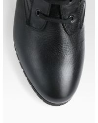 Burberry Black Elford Leather and Flannel Laceup Ankle Boots