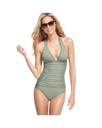 DKNY Green Halter Ruched Tankini Top