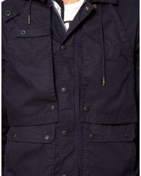 G-Star RAW Blue Stern Hooded Parka Jacket for men
