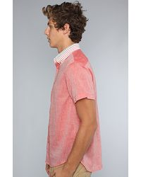 General Assembly Red The Chambray Stripe Collar Button Down Shirt  for men