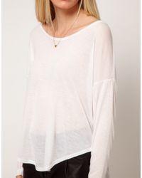 LNA White Long Sleeved Crescent Crew T-shirt