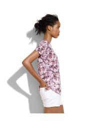 Madewell Purple Rivet & Thread Gathered-collar Shirt In Avery Plaid