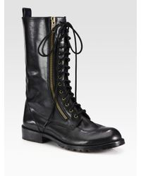 Marc By Marc Jacobs Black Leather Laceup Zipper Boots