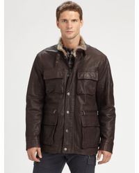 Michael Kors Brown Furlined Utility Jacket for men