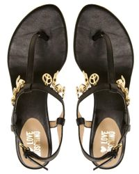 Moschino Black Love Lady Love Charmes Flat Sandals
