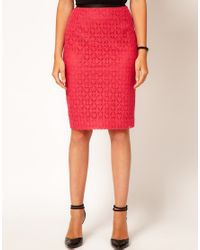 Oasis Red Lace Pencil Skirt