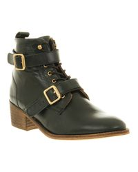 Office Domino Strap Ankle Boot Green Leather