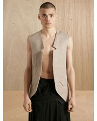 Raf Simons Natural Raf Simons Mens Hessian Waistcoat for men