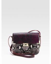 Rebecca Minkoff Black Kiss Kiss Python Embossed Leather Shoulder Bag