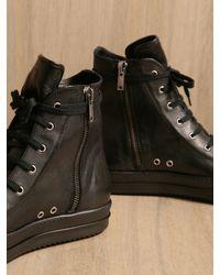 Rick Owens Black Rick Owens Mens Leather Sneaker for men