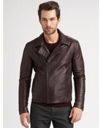 Theory Brown Lambskin Leather Jacket for men