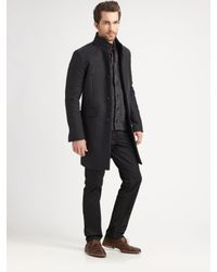 Theory - Gray Melton Long Jacket for Men - Lyst