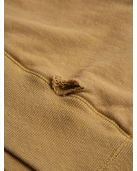 Unused Yellow Unused Mens Distressed Crew Neck Double Layered Sweat for men