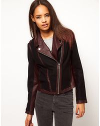 ASOS Collection Black Colour Block Leather Jacket