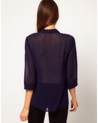 ASOS Collection White Asos Blouse with Contrast Piping and Gold Buttons