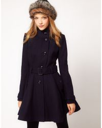 ASOS Collection   Purple Fit and Flare Belted Coat   Lyst
