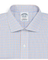 Brooks Brothers Blue Check Non-iron Regular Fit Dress Shirt for men